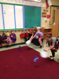 "fun brain break: use paper plate and tissue paper ""fish"" or other animal, race to fan across rug!"