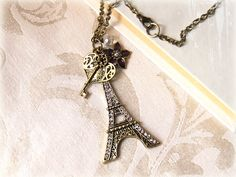Paris necklace antiqued key filigree heart by MacKenziesAttic.