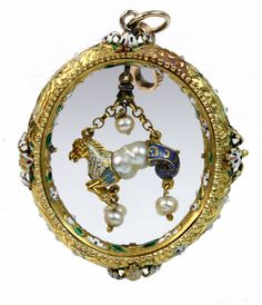 A Renaissance style gold, enamel and pearl pendant