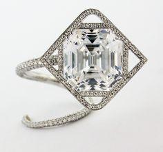Emerald-Cut Diamond, Diamond and Platinum Ring by James de Givenchy