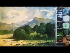 Watercolor painting tutorial for beginners Step By Step Painting, Painting Lessons, Watercolor Paintings, Landscape, Drawings, Artwork, Pen And Wash, Work Of Art, Water Colors