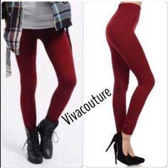 ️SOLD Bundle leggings 2 pairs fleece high waist leggings nwt see original listing for details BURGUNDY & CHARCOAL Vivacouture Accessories Hosiery & Socks