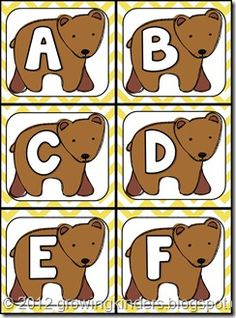 Free Brown Bear printable letter cards (upper and lower case). Circle game?