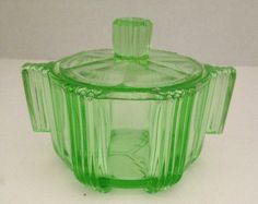 Art Deco Style Depression Glass Green Sugar Bowl Candy Dish with Lid | eBay