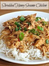 Slow Cooker Shredded Honey Sesame Chicken on MyRecipeMagic.com.  So easy to make and tastes amazing!