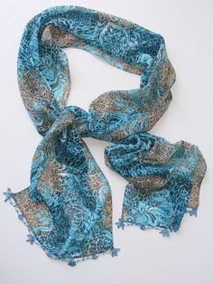 multicolor scarf with lace new design shawl neckwarmer by seno, $15.00