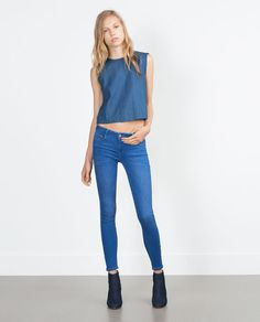 TIGHT FIT JEANS Tights, Zara Women, Thrifting, Jeans Fit, Skinny Jeans, Fitness, How To Wear, Blue Jeans, Summer Outfits