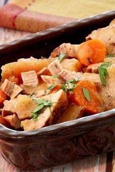 This slow cooker pork tenderloin with apples is an easy pork tenderloin recipe! Cook the best pork tenderloin in the crockpot using apple juice, potatoes, carrots, and apples. You will love cooking this pork tenderloin for a fall dinner recipe!