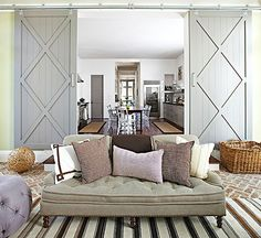 Barn Doors for separation of basement fitness room - Shades of Gray Color Scheme