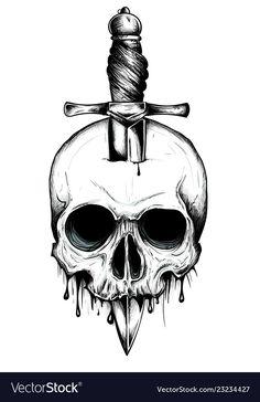 A knife through a skull simple skull face series vector image on VectorStock Simple Skull Drawing, Cool Skull Drawings, Skull Sketch, Skull Artwork, Tattoo Design Drawings, Skull Tattoo Design, Tattoo Sketches, Tattoo Designs, Tattoo Ideas