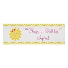 Cute Sunshine Birthday Welcome Poster