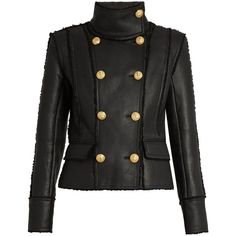 Balmain Double-breasted shearling jacket ($3,669) ❤ liked on Polyvore featuring outerwear, jackets, balmain, jackets leather, black, balmain jacket, slim fit jacket, slim fit blazer and double breasted jacket