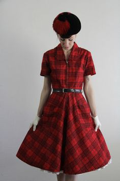 Vintage 60s Dress . Red Plaid . Daydress . Cocktail Gown . Mid Century Party Frock . 1950s Mad Men. $160.00, via Etsy.