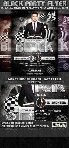 """Black Party-Club Flyer Template is very modern photoshop flyer with glamour feel that will give the perfect promotion for your upcoming event or nightclub party!  2 PSD file – A5, 5""""x7"""" size with 0.3mm bleed  5 Color Variations  Clearly labeled folders and layers  CMYK – 300dpi – Ready to print with guides"""