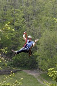 Ziplining in the mountains at Hawks Nest in Banner Elk, NC