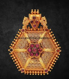 Elegant Antique Pendant with Rubies | Latest Indian Jewellery Designs