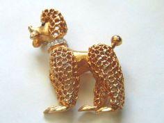 Vintage Signed JOMAZ Goldtone Rhinestones POODLE Shape Pin Brooch  #Jomaz