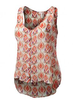 Geometric Print Sleeveless Chiffon Button Down #jtomsonplussize
