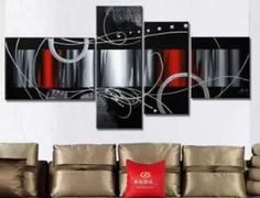 Four piece, red, black, grey, abstract painting  ...from Google Images