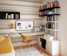 Furniture : Cool L Shaped Teenage Desk In Small Classy Contemporary Teenage Room With Yellow Desk Chair And White Furry Rug Also Bookshelves - Desk for Teenagers with Design Choices