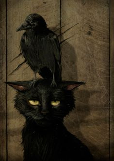 Black cat and crow. Creatures from Poe's universe