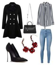 """""""Untitled #67"""" by edlundhallie on Polyvore featuring Mulberry, Bebe, Miss Selfridge, Casadei and Yves Saint Laurent"""