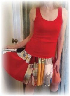 DIY Upcycled T-shirt Skirt (patchwork twirly dress) Tutorial  -- would be fun in little girl sizes.