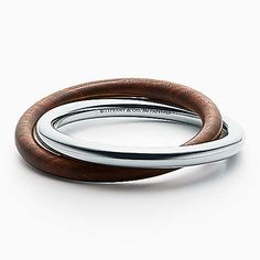 Out of Retirement™ interlocking bangle in sterling silver and wood, medium.
