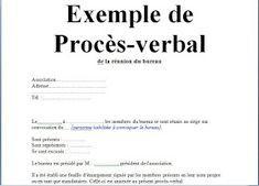 Exemple De Proces Verbal Lecture De Plan Cours De Gestion Exemple