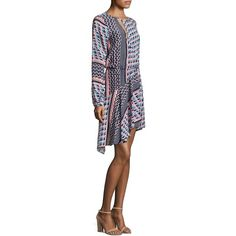 021c80ee81d Parker Noella Printed Silk Blouson Dress ( 348) ❤ liked on Polyvore  featuring dresses