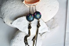Pink and grey earrings, extra long earrings, polymer clay jewelry by LandOfJewellery