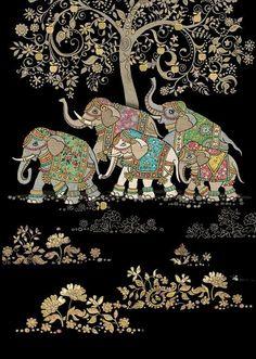 New Jungle Animal Art Projects Ideas Ideas Kalamkari Painting, Madhubani Painting, Animal Art Projects, Bug Art, Indian Art Paintings, Abstract Paintings, Madhubani Art, Indian Folk Art, Elephant Love