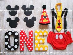 Mickey Mouse Birthday cake smash baby outfit clubhouse ears suspenders I am One Hat diaper cover Bow tie 9 12 18 toddler Photo shoot Package by GinaBellas1 on Etsy https://www.etsy.com/listing/262763699/mickey-mouse-birthday-cake-smash-baby