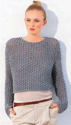 See Through Fishnet Sweater Knitting Pattern PDF Sweater Knitting Patterns, Knit Patterns, Free Knitting, Blanket Patterns, Crochet Woman, Knit Crochet, Pull Grosse Maille, Modelos Fashion, Crochet Instructions