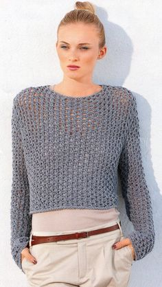 ENGLISH See Through Fishnet Sweater Knitting Pattern PDF