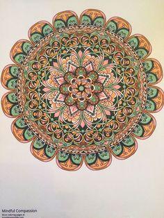 """Mindful Compassion"" printable mandala coloring page. Colored by @biandonna  https://mondaymandala.com/m/mindful-compassion?utm_campaign=sendible-pinterest&utm_medium=social&utm_source=pinterest&utm_content=mindful-compassion&utm_term=fancolor#utm_sguid=164897,9e81b148-96ec-977f-d527-11902eb7735e  #mondaymandala"