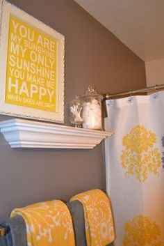 Such a cute bathroom color scheme - even love the saying! Great way to start the day off right!-) maybe for the Girls' bathroom? Home Design, Home Interior Design, Interior Modern, Design Ideas, Floor Design, Bathroom Color Schemes, Bathroom Colors, Yellow Bathroom Decor, Bathroom Grey