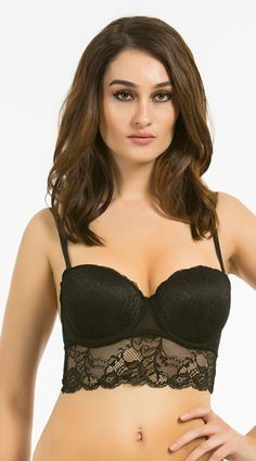 Turn up the sexiness in this lace longline bra featuring molded underwire lace cups, removable adjustable spaghetti straps, a sheer lace underbust band with a scalloped trim, and a hook and eye back closure. The Betty Black Multiway Bra, Black Lace Longline Bra, Black Lace Bra #lingeriebras #newarrivals #push-upbras