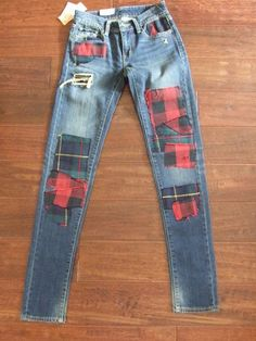 25 x 32 Skinny jean Denim   Supply Ralph Lauren women Tartan Patchwork 198  patch ad409f2632d2