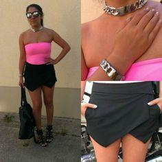 OOTD: Origami Skorts & Mirrored Glasses  #neon #pink #fashion #style #chunkychain