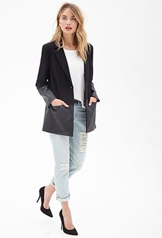 loving the leather trim on this coat! UNDER $40!  www.lunchpailsandlipstick.com