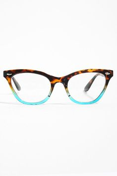 'Emma' Gradient Frame Cat Eye Clear Glasses - Tortoise/Teal