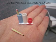 Miniature Dollhouse 1:6th Scale Play Scale Desk Accessories Set for Barbie, Blythe, etc. by MiniaturesfromAvalon
