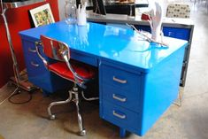 store REHAB Vintage Interiors specializes in retro office décor with a wide variety of products from furniture to lighting offered online. Office Furniture, Office Decor, Home Furniture, Painted Furniture, Office Ideas, Kids Office, Desk Office, Desk Ideas, Funky Furniture