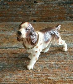 Vintage Ceramic Springer Spaniel Dog Figurine, English Springer Spaniel Dog Figurine, Dog Lover's Figurine, Ceramic Dog Decor, Hunting Dog by EmptyNestVintage on Etsy