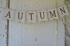 AUTUMN Burlap Banner, Fall, Autumn, Thanksgiving, Halloween