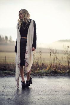 heikki salonen jacket  bruno pieters x weekday sweater  h&m trend skirt  moxham necklace  burberry shoes