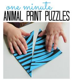 Zoo Animal Print Puzzles. One minute to make but kids play much longer.  { Perfect quick activity for a busy day }