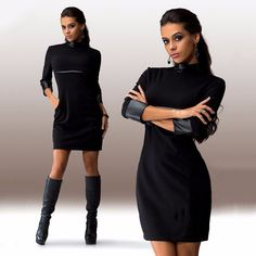 Women Autumn Cool Dresses Three Quater Sleeve PU Leather Patchwork Clubwear Dress Slim Casual Vestidos Robe New style