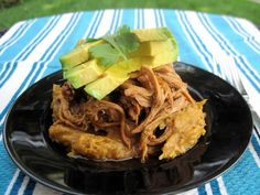 #paleo Easy Shredded Pork over Caramelized Mashed Plantains | Crockpot Pork: 1 - 2 lb pork loin; 1 yellow onion, sliced; 2 cups gluten-free, beef broth (no sugar added) - add 3 cups for a 2 lb pork loin; 1 tablespoon garlic powder; 1 teaspoon onion powder; salt and pepper, to taste | Plantain Mash: 4 brown plantains, peeled, sliced in half lengthwise; 2 tablespoons coconut oil; 1 teaspoon cinnamon; pinch of salt; 3 - 4 tablespoons canned coconut milk